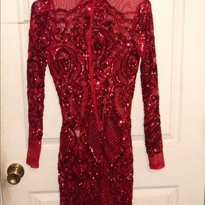 Sparkle Red Form fitting dress